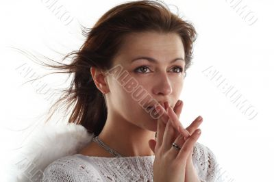 girl like an angel isolated on white background