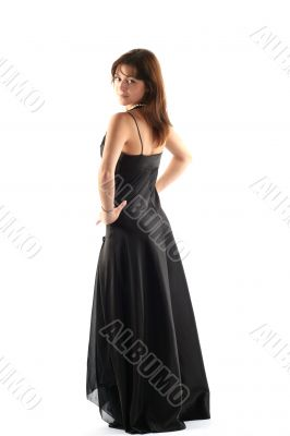 Girl in black dress isolated on white background