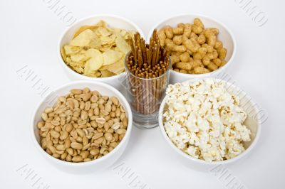 Chips peanuts popcorn salted sticks