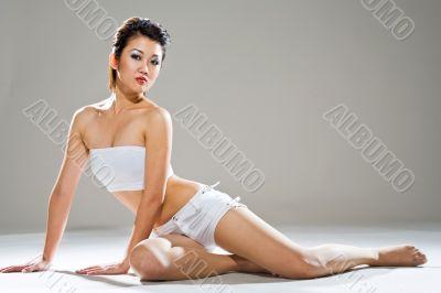 gorgeous asian woman in white