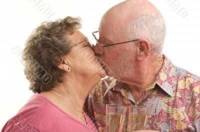 Happy Senior Couple Kissing