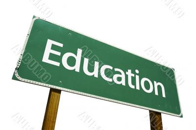 Education Road Sign with Clipping Path