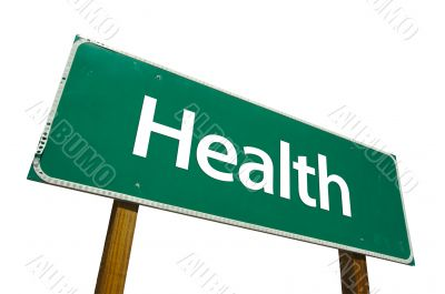 Health Road Sign with Clipping Path