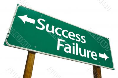 Success and Failure Road Sign with Clipping Path