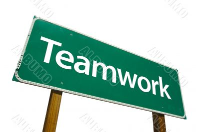 Teamwork Road Sign with Clipping Path