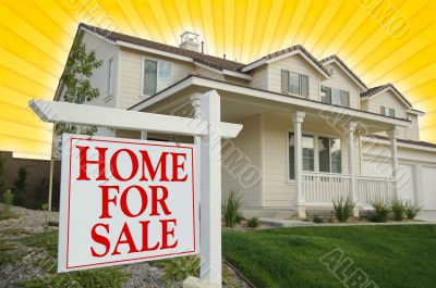 Home For Sale sign with Yellow Star-burst Background.