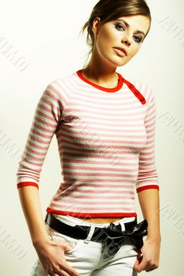 Beautiful woman in  sweater