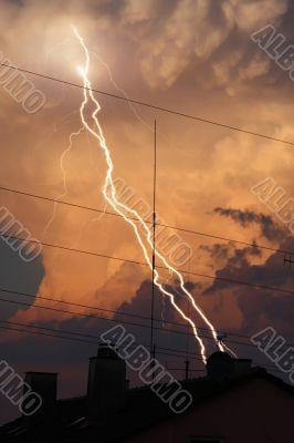 thunder lightning cloud evening