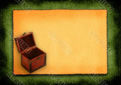 paper with antique wooden trunk