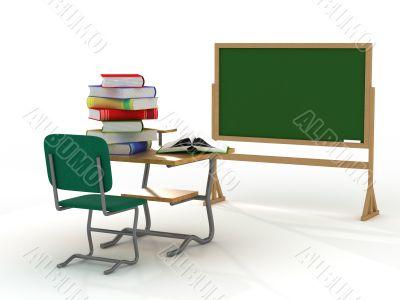 School interior. The training concept. 3D image.