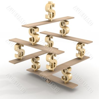 Financial balance. Stable equilibrium. 3D image.