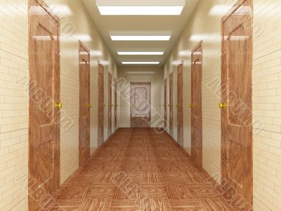 Corridor with a number of doors. 3D image.