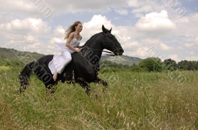 riding wedding woman