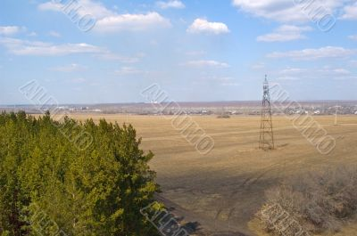 Countryside view with tower