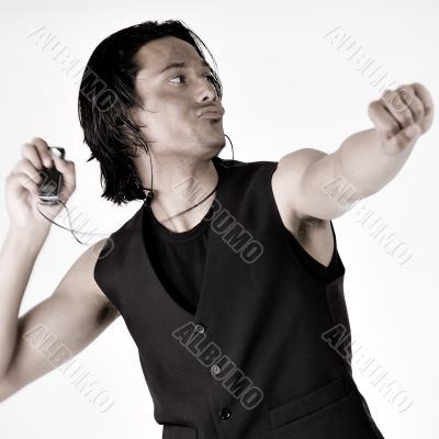 Indonesian man with mp3 player