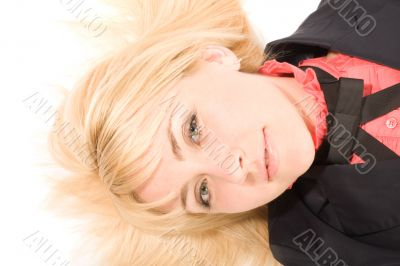 Young blond woman laying on the white floor