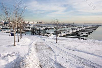 Empty Yacht Harbour on Lake Michigan