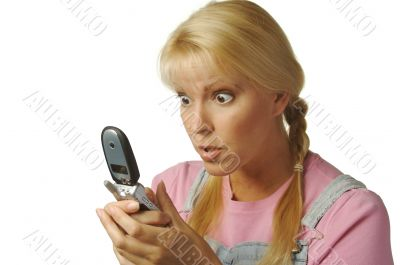 Enamored Girl Texting with Cell Phone