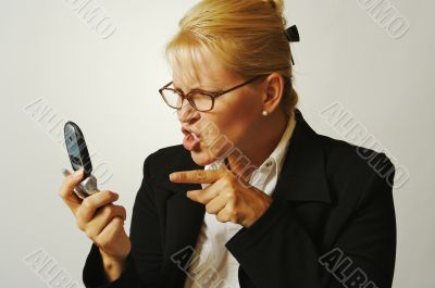 Angry Business Woman on Cell Phone