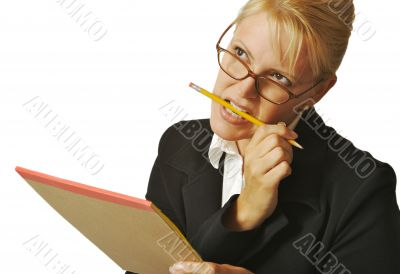 Beautiful Woman Thinks with Pencil & Notepad