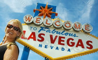 Attractive Woman in Front of Las Vegas Sign