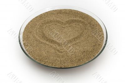 heart symbol on the sand