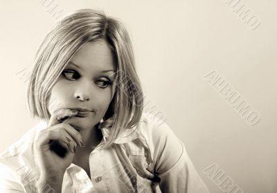 Pretty woman doubting