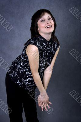 Pretty pregnant laughing