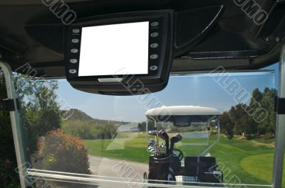 Golf Cart with Blank GPS Screen