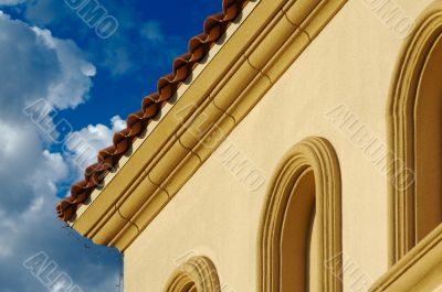 Stucco Wall Construction & Arched Windows