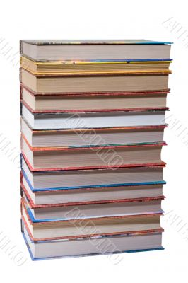 dozen different books, stacked