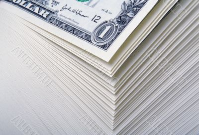 Abstract of a Large Stack of One Dollar Bills