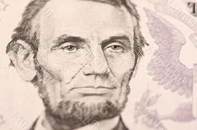 Macro of Five Dollar Bill`s Lincoln