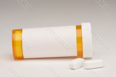 Blank Prescription Bottle & Pills