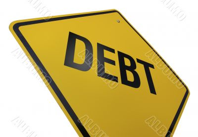 Debt Road Sign Isolated