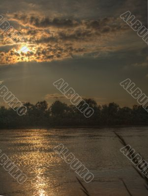 sunset in Oka river