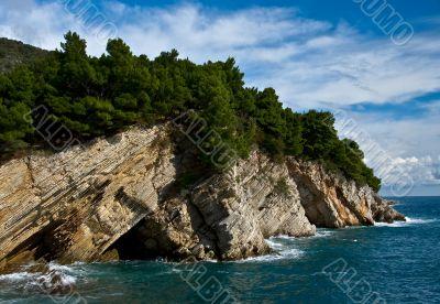 mediterranean coastline with rock