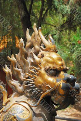 Bronze lion in Forbidden City garden