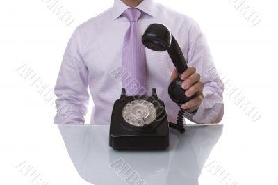 businessman answer a call