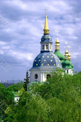 Vydubychi Monastery against cloudy blue sky