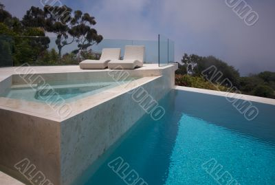 Custom Luxury Pool, Hot Tub and Chairs Abstract