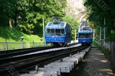 Railway funicular in Kiev , Ukraine