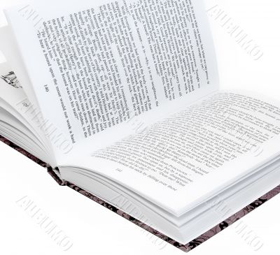 Opened book with english text