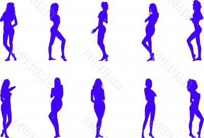 silhouettes of the naked women