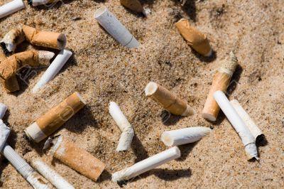 Cigarette butt in sand