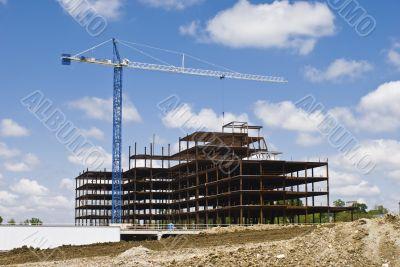 Steel Office Building Shell Under Construction