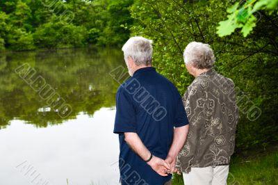 grandparents watching the lake