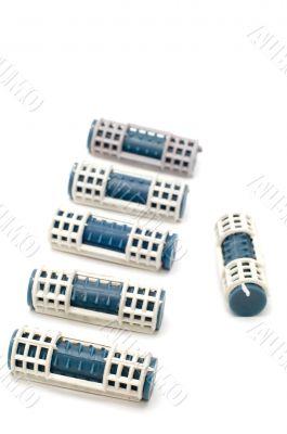 Blue hair-rollers