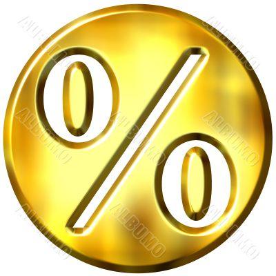 3D Golden Framed Percentage Symbol