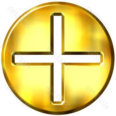3D Golden Famed Addition Symbol